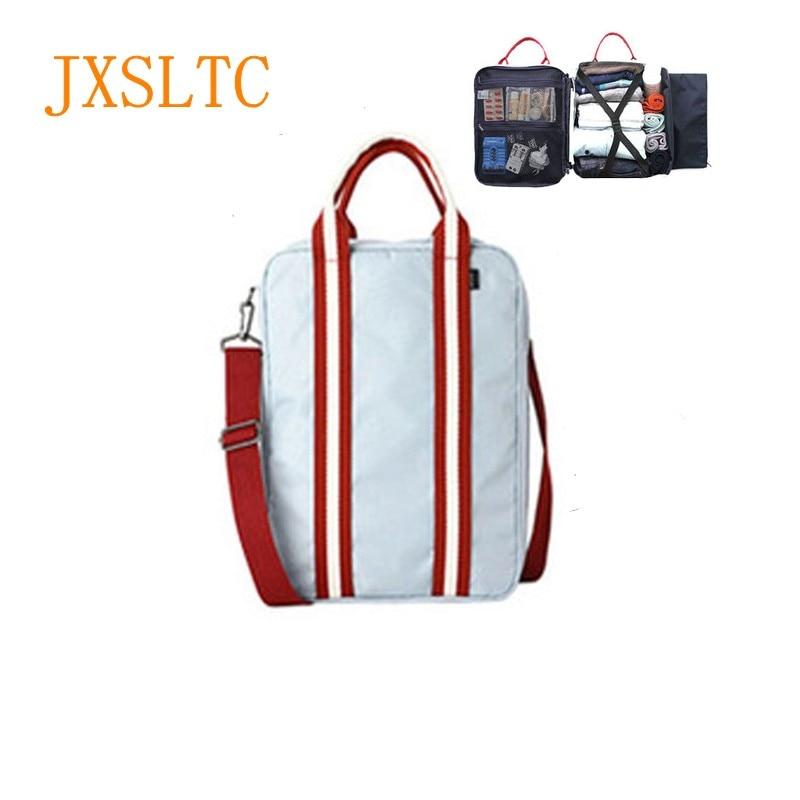 все цены на JXSLTC Nylon Duffle Bag Men Small Travel Bags Foldable Suitcase Big Capacity Weekend Bag Female Packing Cubes Tote Luggage онлайн