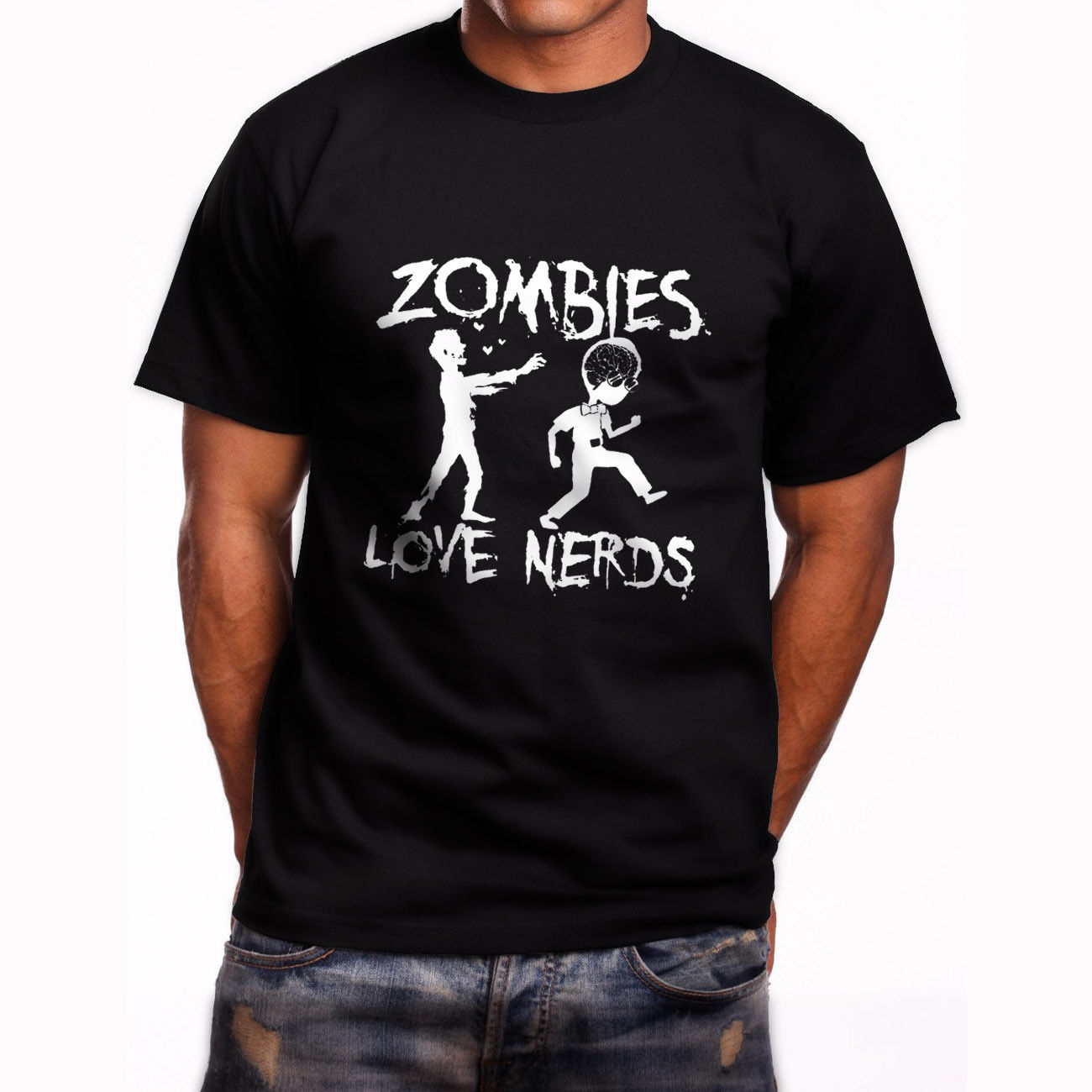 New Zombies Love Nerds Graphic Short Sleeve Men's Black T-Shirt Size S To 3xl Mens Tops Cool O Neck T Shirt Top Tee