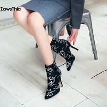 ZawsThia black cow suede genuine leather embroider 10cm thin high heels women shoes embroidery ethnic pumps ankle boots 34-42