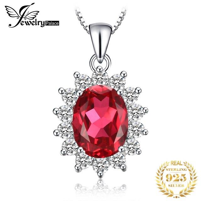 JewelryPalace Bạc 925 3.2ct Tạo Ra Màu Đỏ Hồng Ngọc Nữ Mặt Dây Chuyền Cổ Công Nương Diana Đính Hôn Trang Sức Không Dây Chuyền