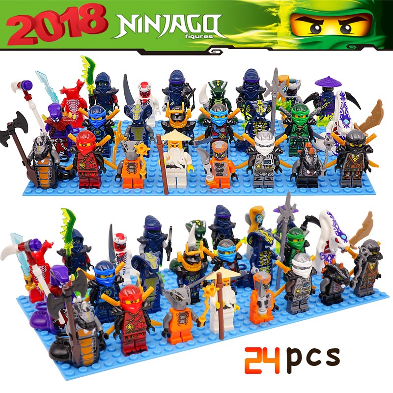 24pcs/lot Building Blocks Compatible with LegoINGlys NinjagoINGlys Sets NINJA Kai Jay Cole Zane Nya Lloyd Kids Action Toy Figure building blocks compatible with legoinglys ninjagoinglys sets ninja heroes kai jay cole zane nya lloyd weapons action toy figure
