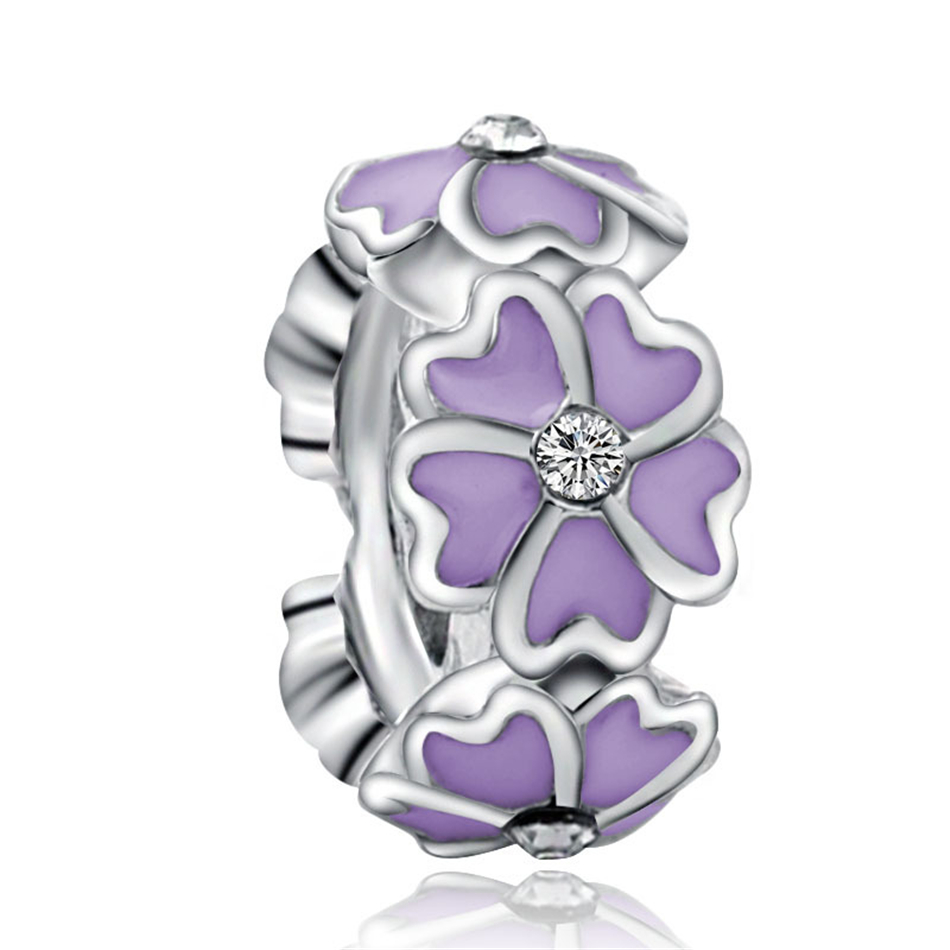 For Women DIY Jewelry Making Fit Pandora Bracelet Bangle Fashion Jewelry Silver Plated Crystal Enamel Daisy Flower Spacer Beads