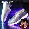 Spansee 2 cestas estilo chinelos brilhantes tênis luminosa shoes com crianças de luz led acender tênis tenis feminino levou