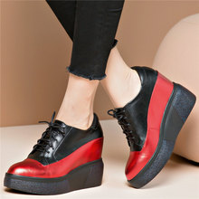Trainers Shoes Womens Cow Leather Wedges High Heel Pumps Lace Up Round Toe Platform Oxfords Tennis Casual Creepers