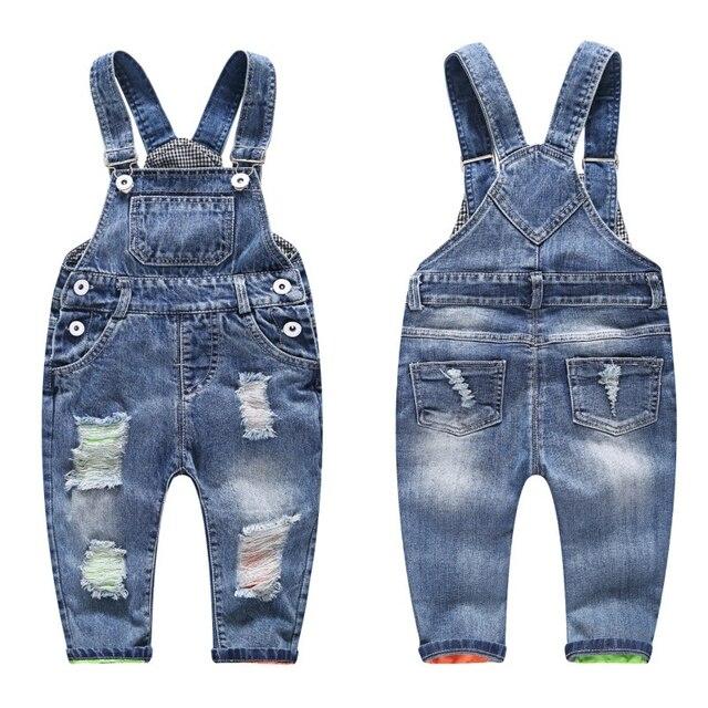 3 8t子供のジーンズ子供のジーンズのデニムズボン韓国の子供のジーンズオーバーオールよだれかけパンツジーンズのための子供の男の子服