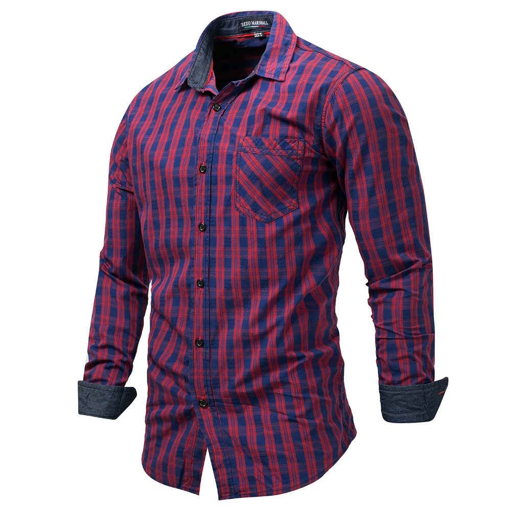 adb6106f7df England Style Casual Denim Checks Men Shirts Long Sleeve 100% Cotton Plus  Size European and American Business Shirt-in Casual Shirts from Men s  Clothing on ...