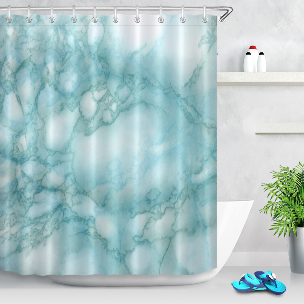 Watercolor Marble Light Blue Shower Curtain Set Waterproof Polyester ...