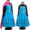 Alta Calidad 2-10 Años Vestidos para Niñas Anna Elsa Snow Queen Princesa Sofia Vestido con Capa Niñas Elegante dormir Vestidos