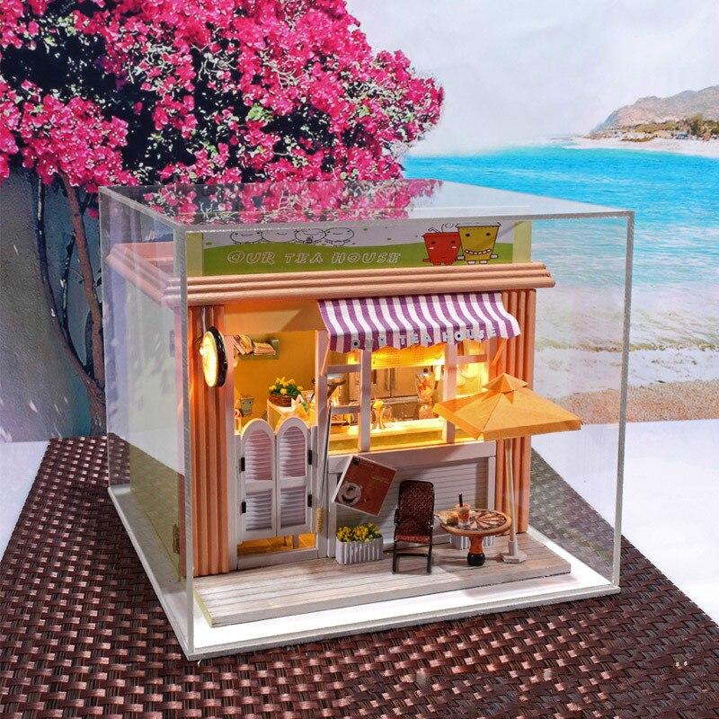 Creative DIY house milk tea shop with dustproof lover gift Valentine's gift
