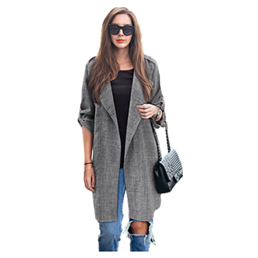 Women   Trench   Coat Turn-Down Collar Large Size Womens Loose Thin Long Sleeved Solid Color Long   Trench   Coat Plaid New Outerwear
