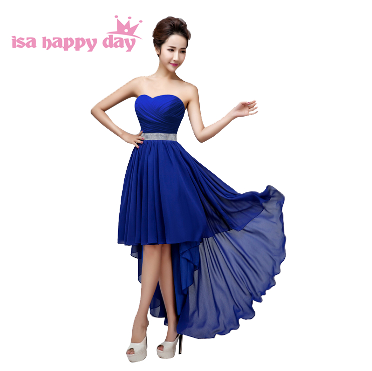 Braidsmaid Ladies Dark Blue Bridesmaid Dresses Sweatheart New Dress Sexy Strapless Front Short Long Back Soiree To Party B3115