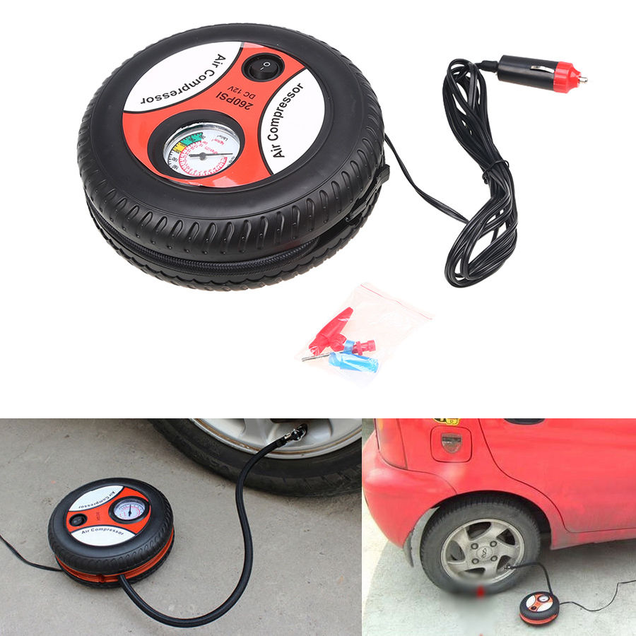 Pompa Listrik Air Compressor Ban Mobil Motor Portabel 12v Spec Dan Packing Merah Bentuk Mini 12 V 260psi Kompresor Udara Inflator Universal Untuk