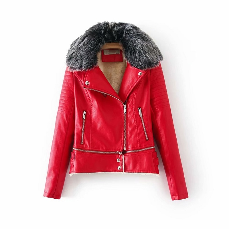 Detachable Fur Collar PU   Leather   Jacket Fleece 2018 Winter Women Warm Coats Zippers Pockets Turn-down Collar Feminine Streetwear