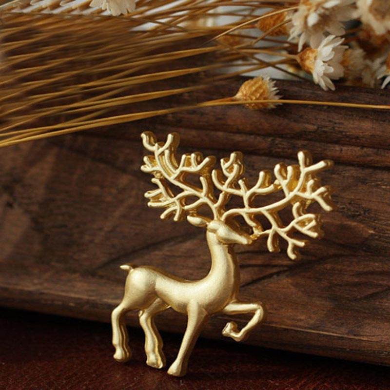 UALGL Brooch Jewelry Fashion Matte Gold Vintage Women Brooches Bouquet For Small Deer Safety Pin Scarf Brooches For Women