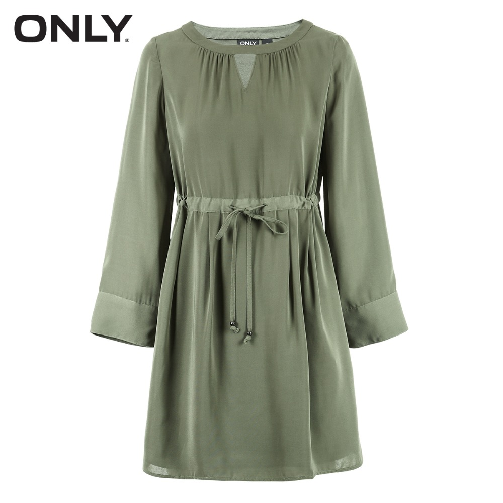 ONLY Women 39 s Pure Color See through Lace up Cinched Waist Dress 118107540 in Dresses from Women 39 s Clothing