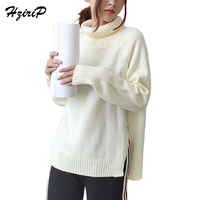 HziriP Autumn Winter Fashion Keep Warm Solid White Sweater Women 2017 Long Sleeve Loose Casual Knitted