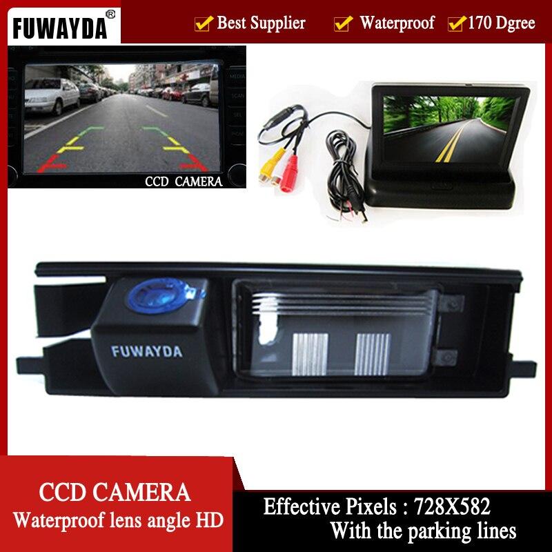 FUWAYDA 170 ''caméra de voiture d'angle d'objectif dans la caméra de vue arrière avec des lignes pour Toyota RAV4 RAV-4, avec moniteur TFT LCD pliable de 4.3 pouces