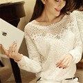 Mulheres blusas de renda de manga comprida O pescoço chiffon sólida blusa para senhoras blusas tops