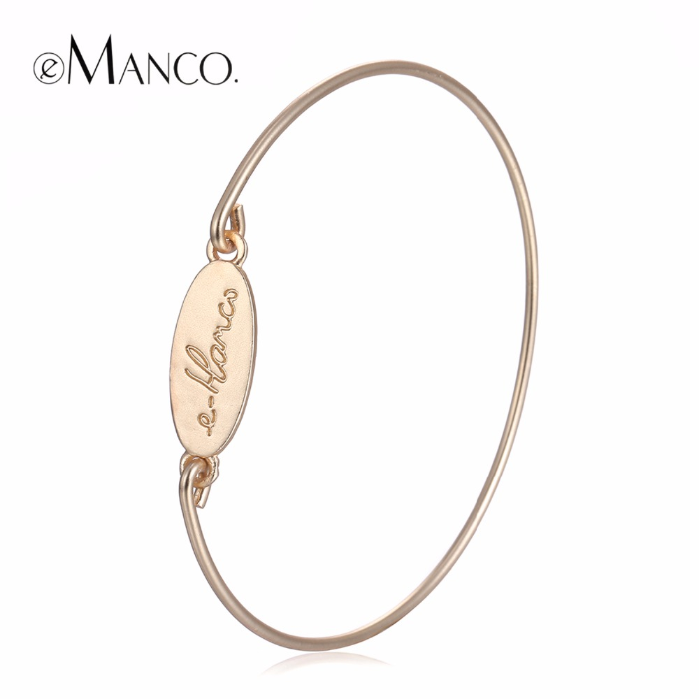 eManco Fashion Simple Statement Alphabet ID Bangles & Bracelets for Women Jewelry & Accessories