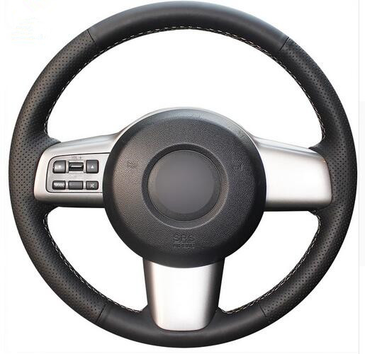 Black Artificial Leather Car Steering Wheel Cover for Mazda 2 2009-2012