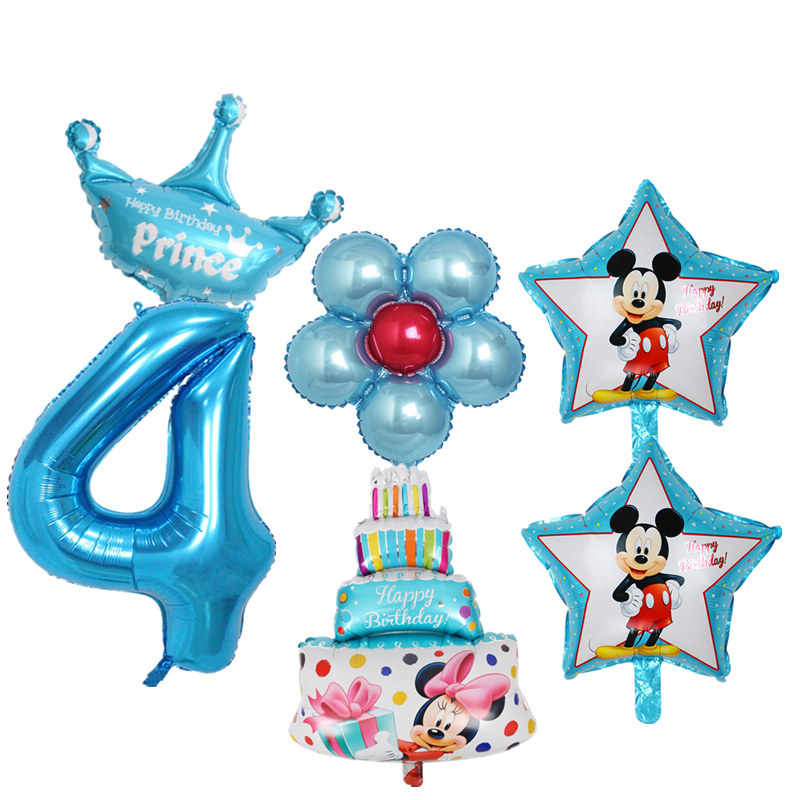 6pcs Kids 4th Birthday Balloons Set Number 4 Foil For Baby Boy Girl Years