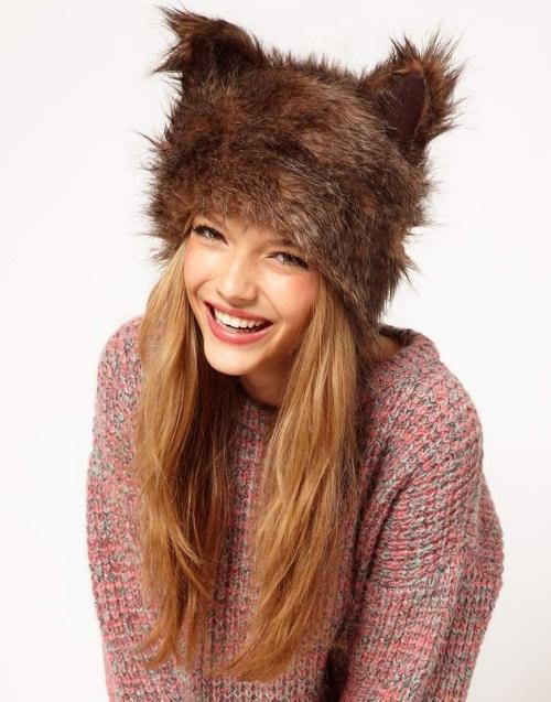 Super bonito orelha de coelho cor marrom gorros chapéu de inverno mulheres Faux pele de coelho para meninas Halloween de CP091