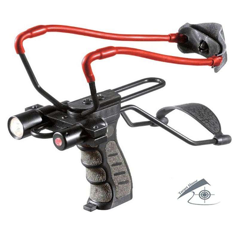 Tactical Slingshot with Laser Sight and Light