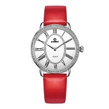Luxury Brand Fashion Casual Dress Crystal womens quartz Relogio feminino Wrist watch red Leather band