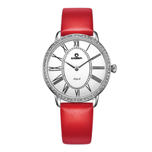 Luxury Brand  Fashion Casual Dress Crystal womens quartz Relogio feminino Wrist watch red Leather band waterproof CASIMA#2615