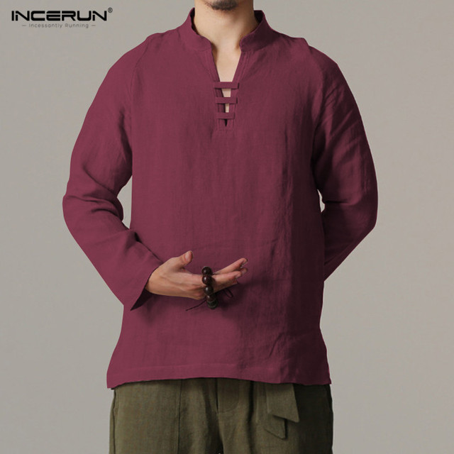 f30f0d389856 INCERUN Chinese Style Linen Shirt Men Collarless Camisa Masculin Flax Shirt  Mens Summer Casual Comfortable Chemise
