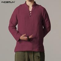 INCERUN Chinese Style Linen Shirt Men Collarless Camisa Masculin Flax Shirt Mens Summer Casual Comfortable Chemise