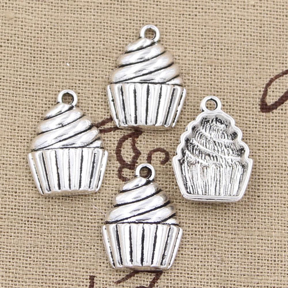 20pcs Charms cupcake ice cream 20*14mm Antique Silver Plated Pendants Making DIY Handmade Tibetan Silver Jewelry