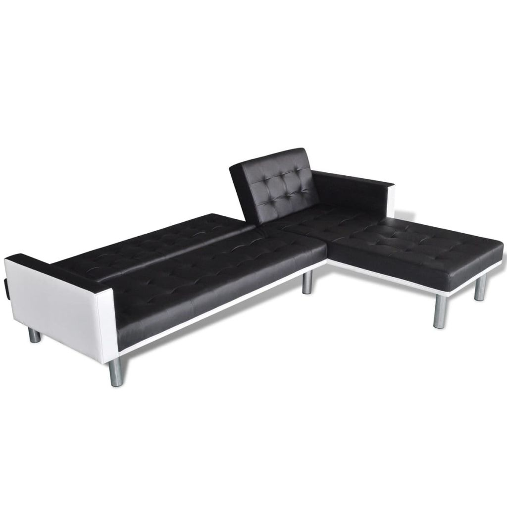 Aliexpress Vidaxl L Shaped Sofa Bed Artificial Leather Black And White From Reliable Suppliers On