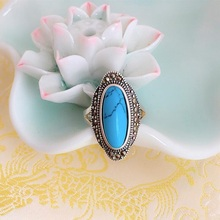 Ruifan Bohemia Oval Blue Turquoise Rings for Women Ladys Vintage 925 Sterling Silver Ring for Girls Fine Jewelry Gift YRI112