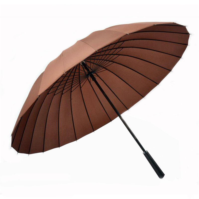 Strong Waterproof Windproof Straight Long-handle Rain and Sun Umbrellas Golf Umbrella 24 Ribs Oversized for 2 Persons 10 Colors