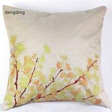 Funda de almohada decorativa Vintage de lino y algodón para el hogar, funda de almohada para la sala de estar, silla, cojín de flores rosas