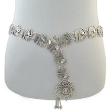 Bohemian Color fashion elephant body chains bell tassel carved flower hollow belt belly chain ladies jewelry Creative