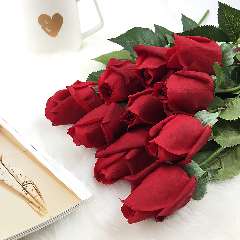 10pcs/set Real Touch Rose Buds Flowers Artificial Flowers Wedding Roses Flowers Wedding Bridal Bouquets Home Decorative Flowers