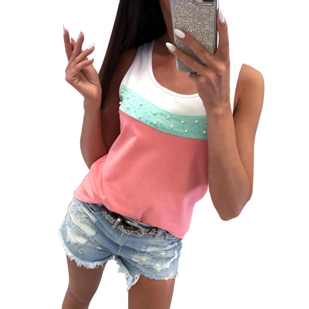 Women Casual Shiny Sequins Beads Spring Summer Solid Color Patchwork Tank Tops Sleeveless Round Neck T Shirt Lady Vest Singlets