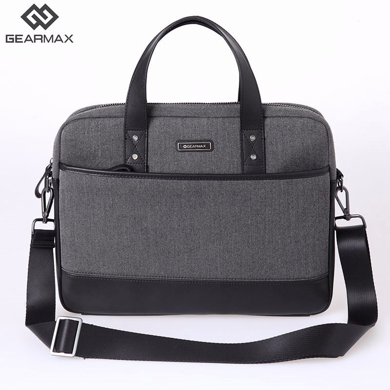 Gearmax Men Briefcases Handbag 15.6 inch Business Leather Laptop Bag 15 15.4 Computer Notebook Messenger Shoulder Bags Travel men black business travel briefcase 15 inch laptop computer notebook handbag single shoulder messenger bag portfolio for macbook