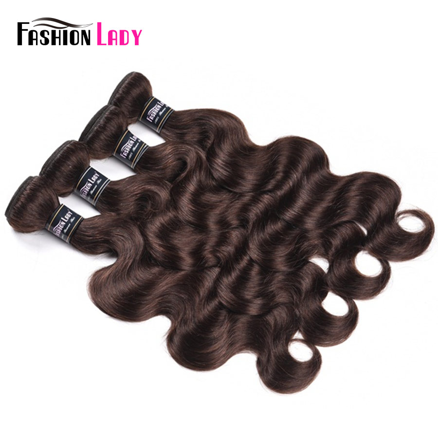 Fashion Lady Pre-colored Indian Hair Weaving #2 Dark Brown Human Hair Bundles Body Wave 4 Pieces Hair Extensions Non-remy