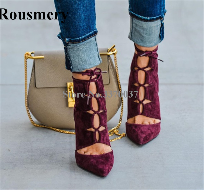 2018 New Fashion Women Pointed Toe Suede Leather Lace-up Gladiator Short Boots Cut-out Thin Heel Ankle Boots High Heels new summer boots women gladiator sandals pointed toe patent leather cut outs lace up high heel boots pumps lace up ankle boots