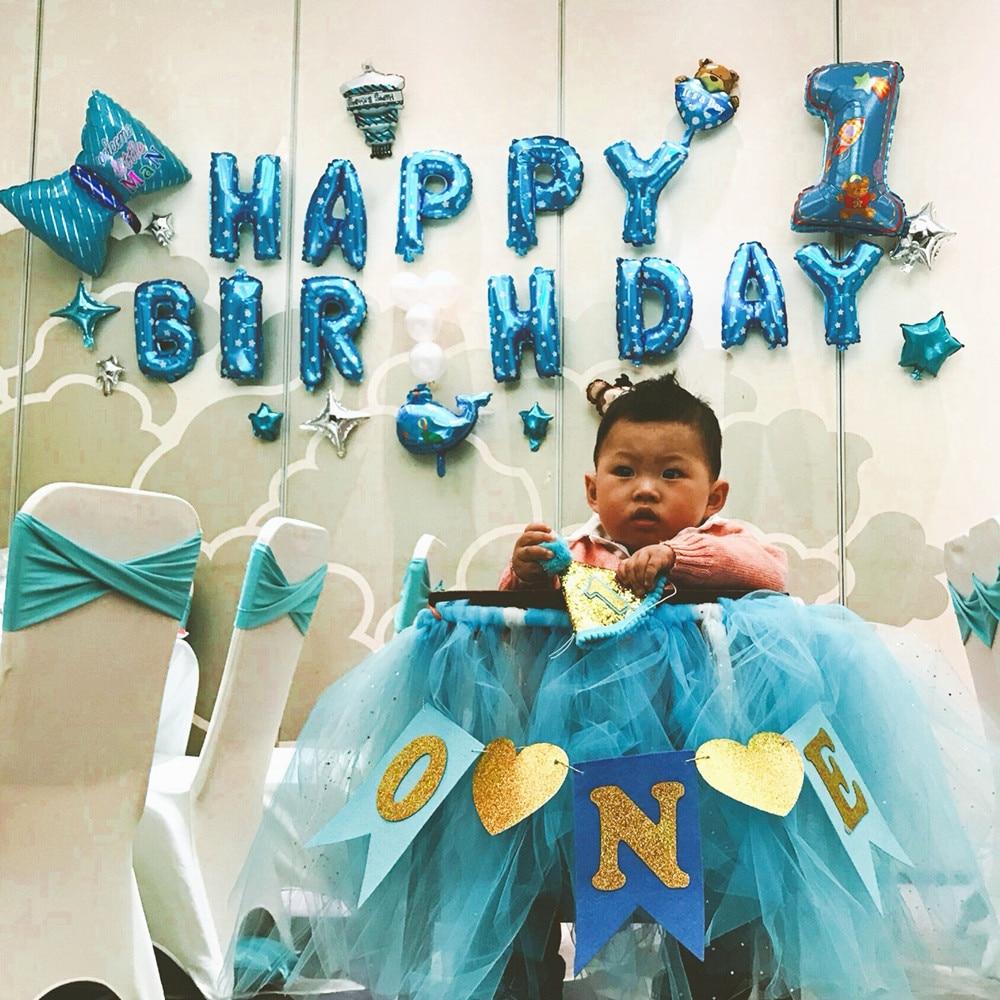Baby Boy Girl 1st Birthday I Am One Paper Banner Blue Pink Happy