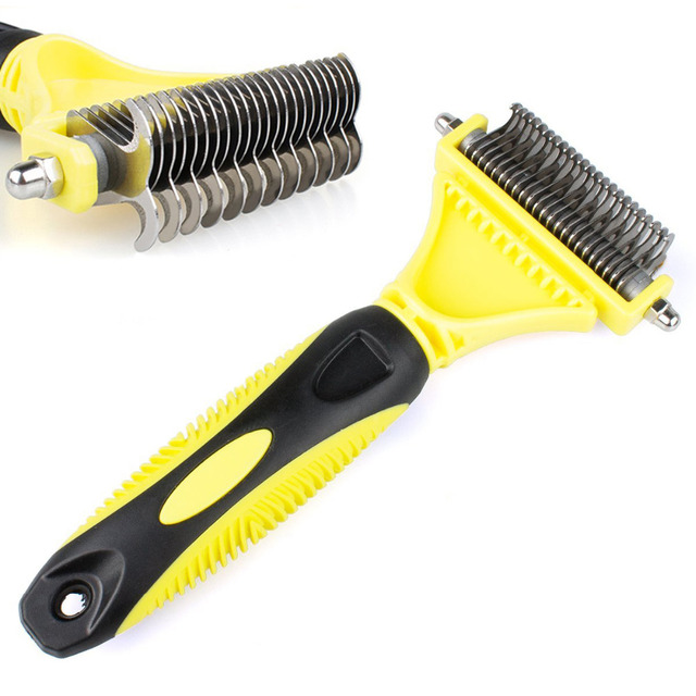 2019 New Stainless Double-sided Pet Cat Dog Comb Brush Professional Large Dogs Open Knot Rake Knife Pet Grooming Products 4