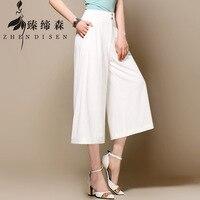 Summer FWide Leg Pants Women White Cotton Linen Pants Plus Size Long Casual Trousers Loose