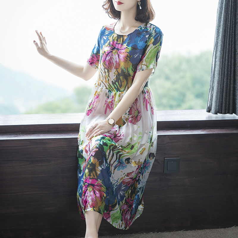 Imitate Real Silk Dresses Plus Size Loose Women Print A-Line Dress New Pattern Short Sleeves Dress Lady Casual Costume
