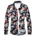 Осень Зима Новый М-7XL Печати СМ73 Мужские Рубашки Платья Сорочку Homme Camisa Социальной Masculina Мужские Гавайской Рубашке