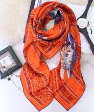 Pure Silk Scarf Women Luxury Brand Flying Horse Square Big Shawls Wraps Handmade Hemming 130*130cm