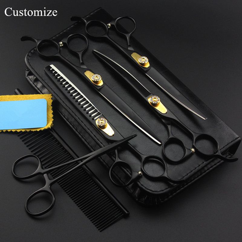 Customize 6 kit Japan 7 inch black Pet dog grooming hair scissors thinning shears curved cutting barber hairdressing scissorsCustomize 6 kit Japan 7 inch black Pet dog grooming hair scissors thinning shears curved cutting barber hairdressing scissors