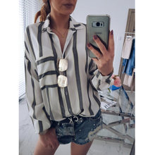 Новое поступление модная женская синяя белая полосатая рубашка